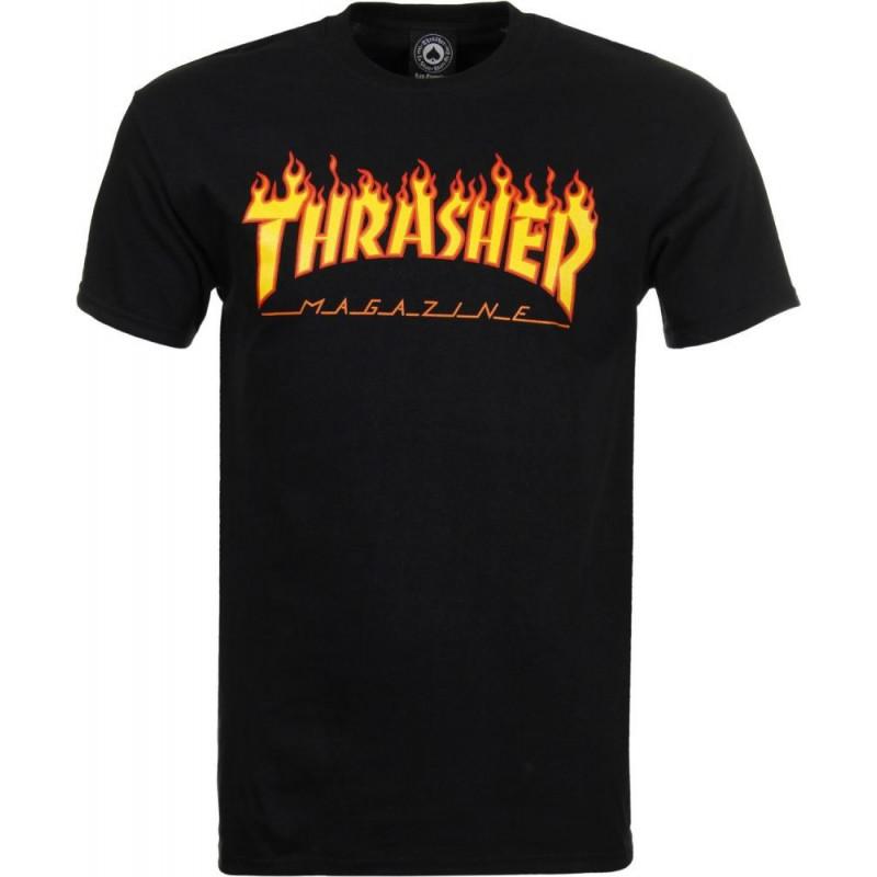 T-shirt thrasher noir logo flamme YL