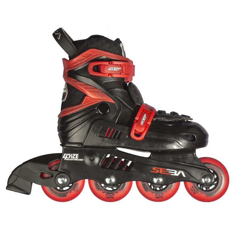 SEBA JUNIOR noir rouge ROLLER REGLABLE